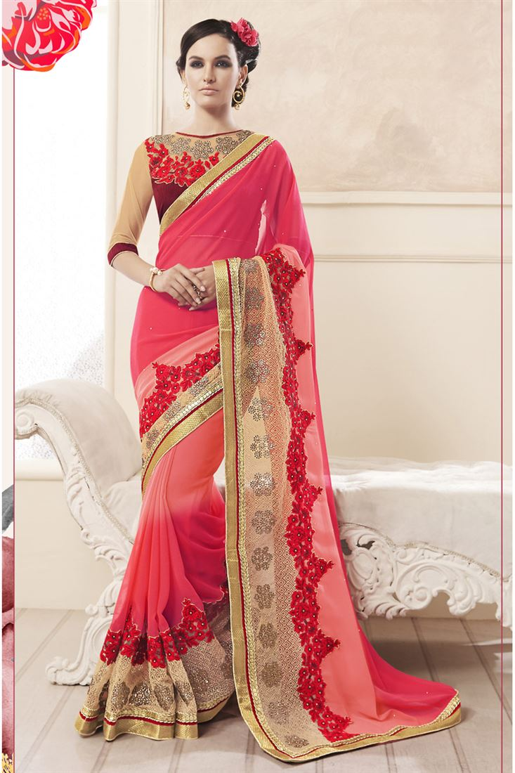 Pink-Red Georgette Heavy Zari Embroidery Work Designer Party Wear Saree