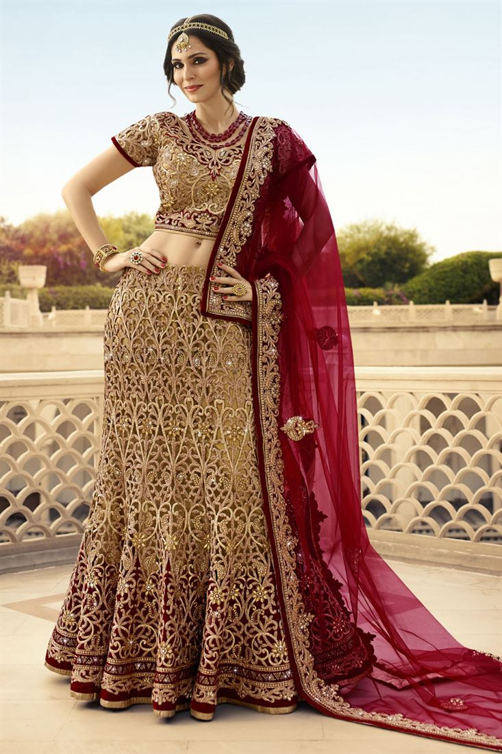 16a20e86010f Beige-Maroon Full Cut Work With Lycra Heavy Embroidery Work ...