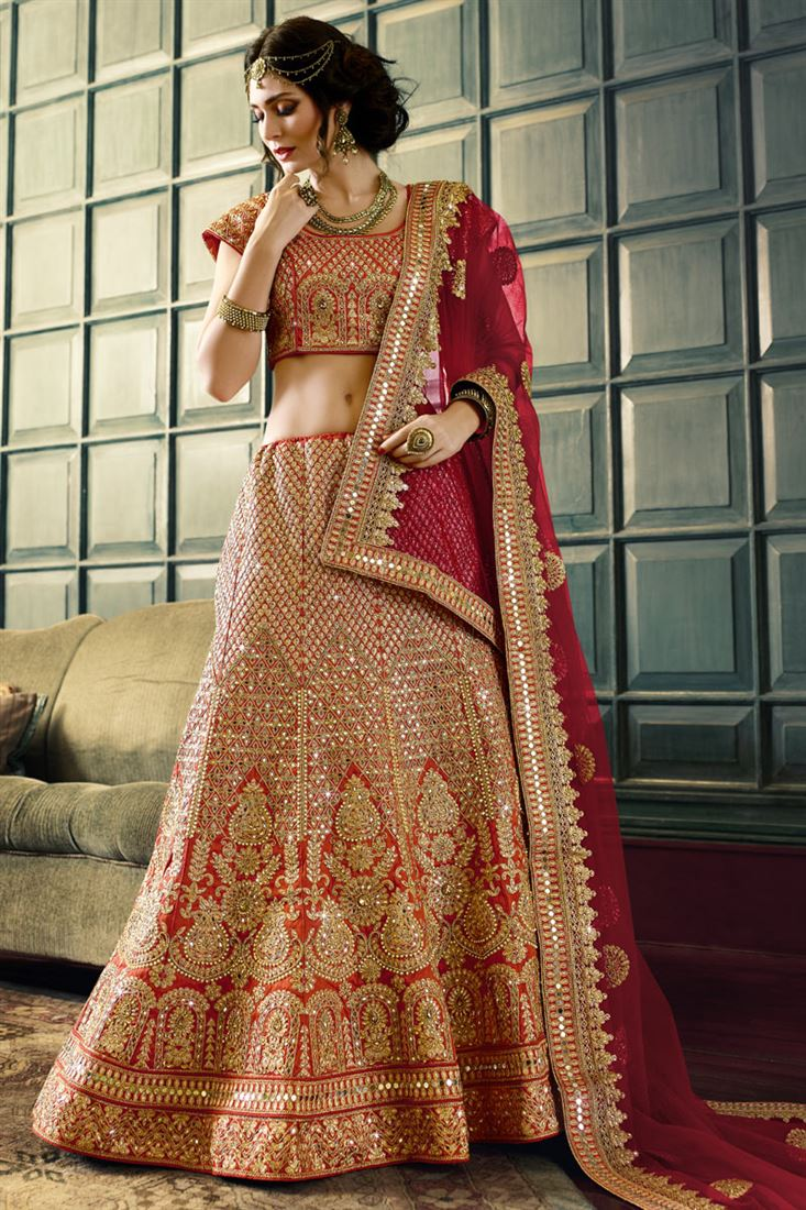 efad484d20bf61 Red Pure Raw Silk Heavy Embroidery Designer Bridal Lehenga with ...