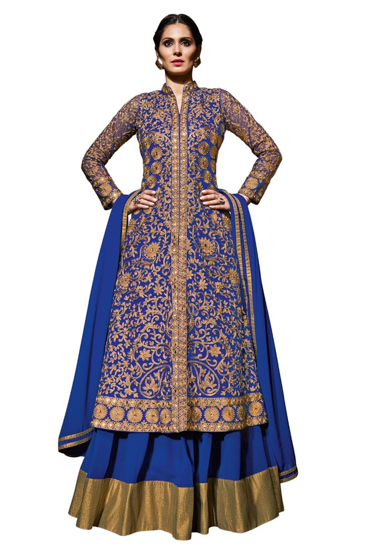 163b5d3c56 Royal Blue Net Long Jacket Choli Designer Embroidery Wedding ...