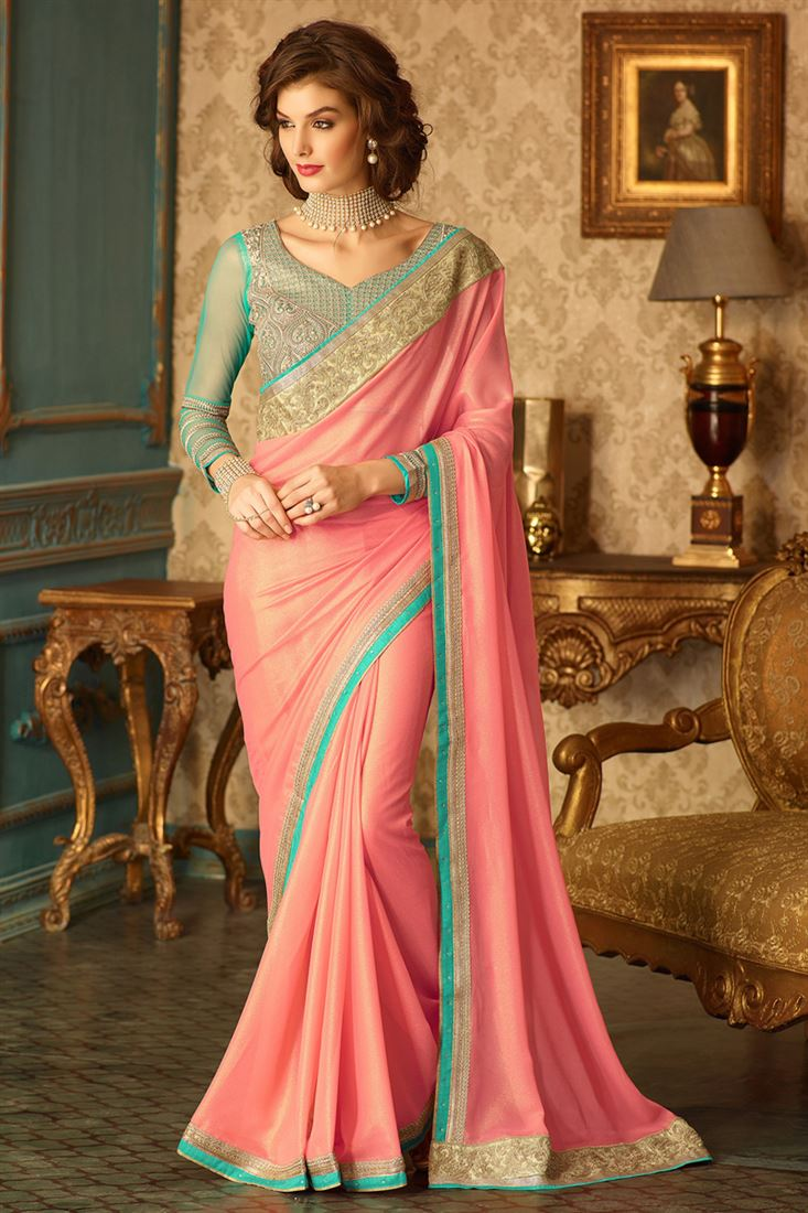 1f5ccde999383 Pink Simmer Georgette Bride-Mate Saree with Heavy Designer Blouse