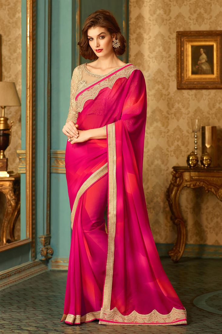 fab58f9d60778 Magenta-Red Georgette Bride-Mate Saree with Heavy Designer Blouse