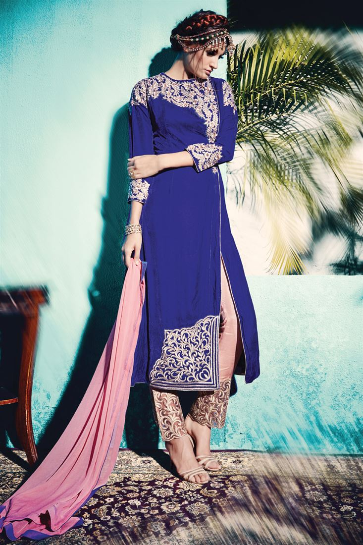 Royal Blue Embroidery Velvet Semi-Stitch Designer Trouser Salwar Suit
