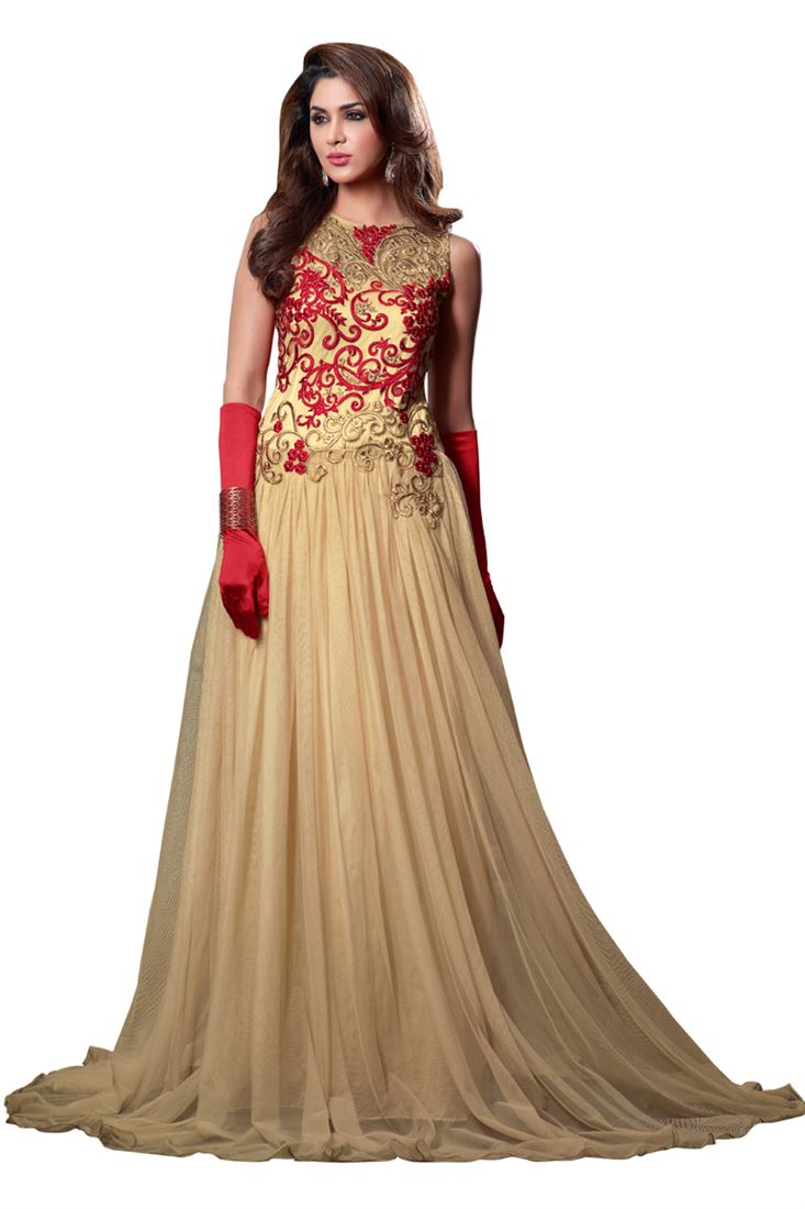 13cb9158765 Light Brown Embroidery Net Semi-Stitch Designer Gown Style Salwar ...