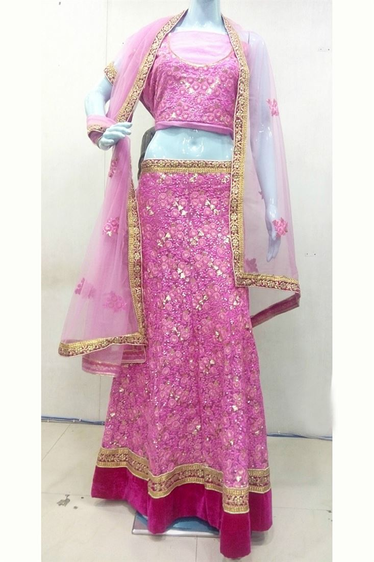 Pink Net Girlish Lehenga Choli With Thread-Sequence Work
