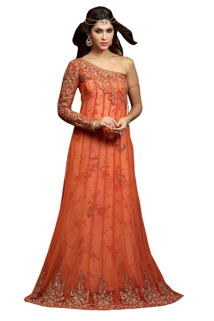 Orange Embroidery Net Semi-Stitch Designer Trouser