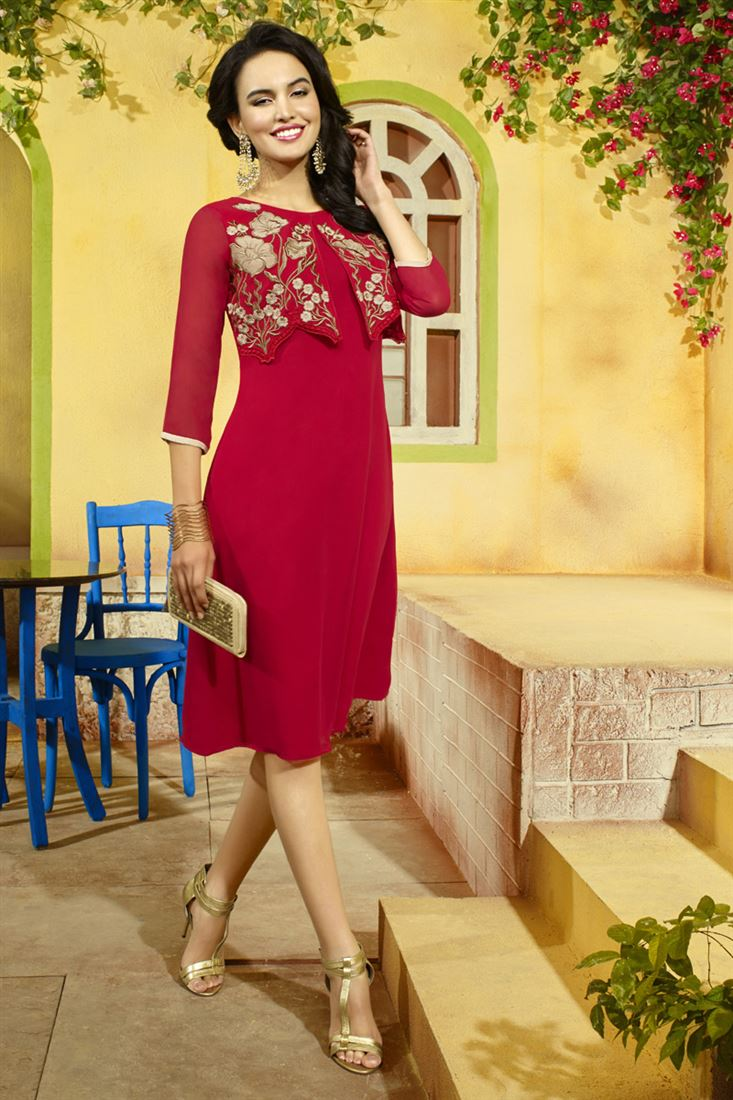Red Georgette with Heavy Embroidery Work Fancy Party Wear Kurti