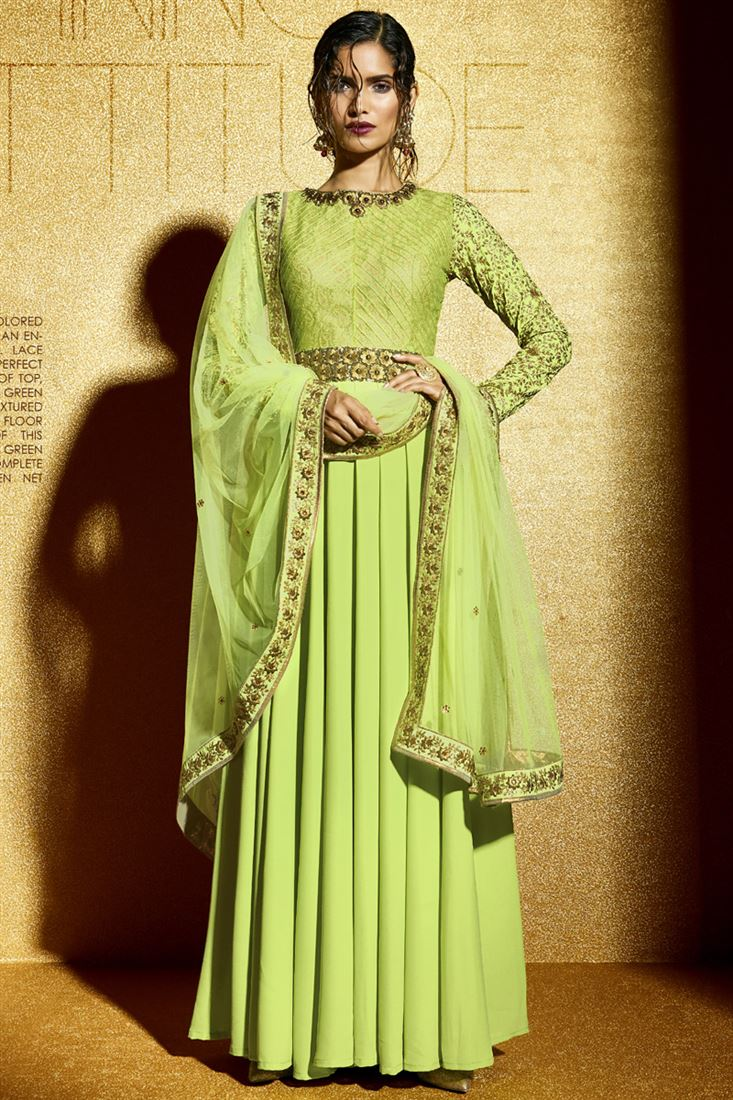 dd040366dd Pista Green Net With Brocade Textured Zari Inner Floor Length Salwar ...