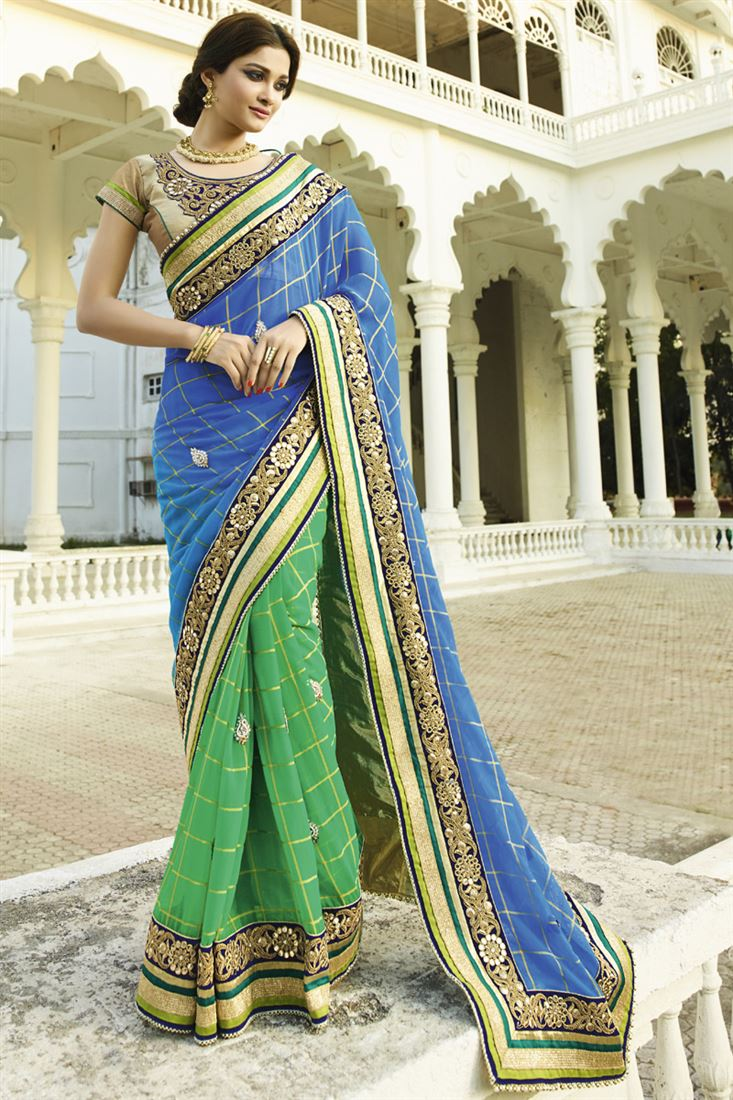 73931b27bb blue-green banarsi dori print fancy designer wedding saree