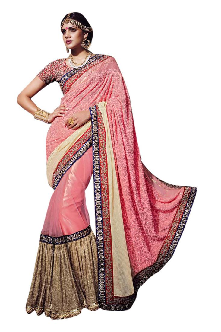 Pink Pure Georgette Heavy Embroidery Thread work Bridal Saree with ...
