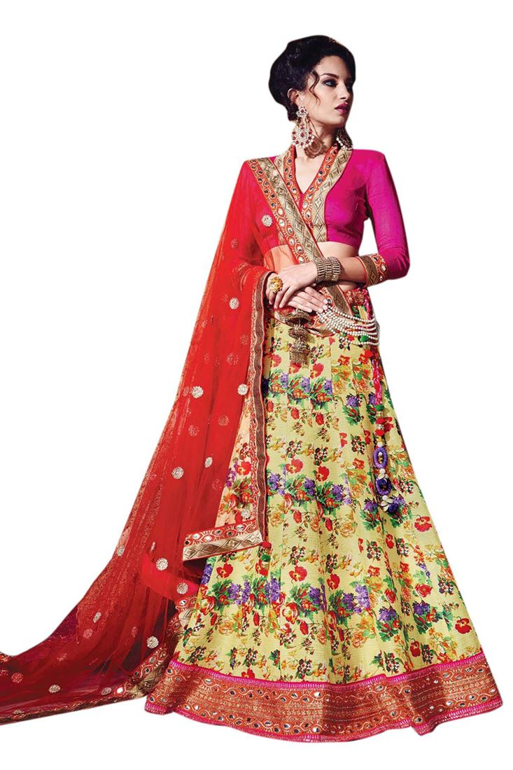 Yellow Digital Printed Raw Silk Wedding Lehenga With Diamond Work Magenta Blouse