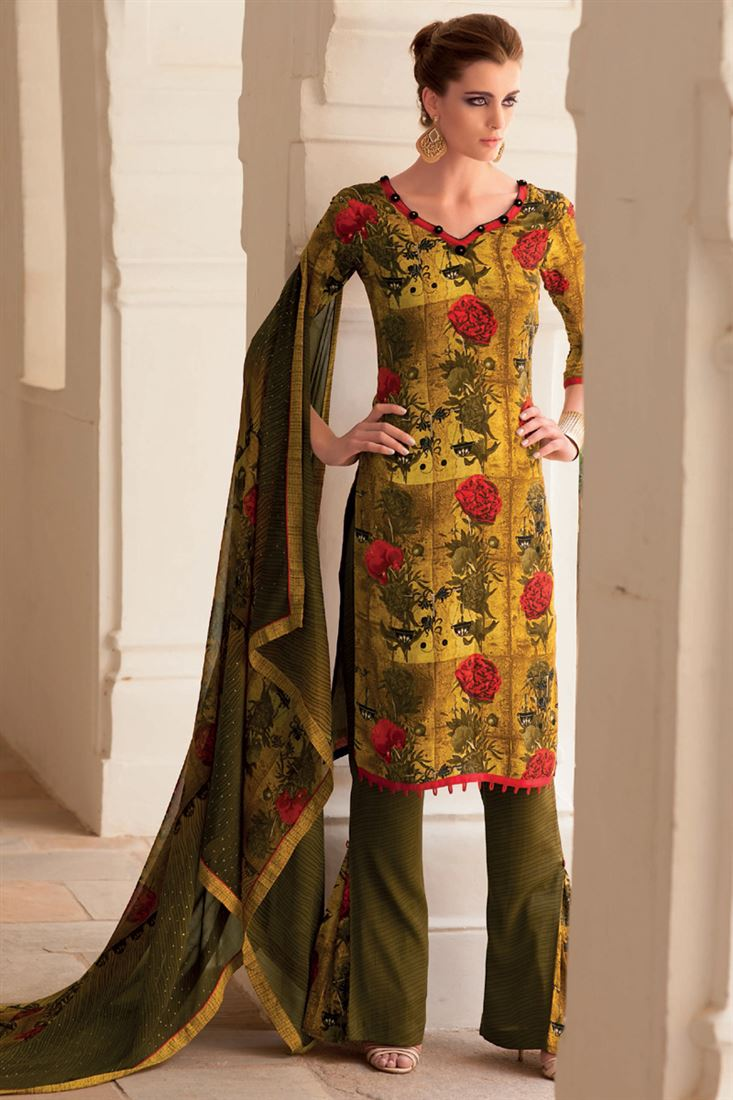 Yellow Printed Crepe Semi-Stitch Pakistani Plazzo Salwar Suit