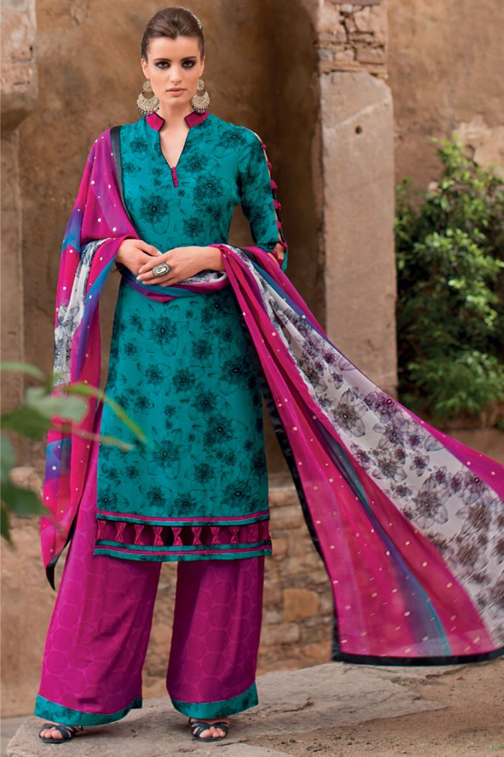Rama Printed Crepe Semi-Stitch Pakistani Plazzo Salwar Suit