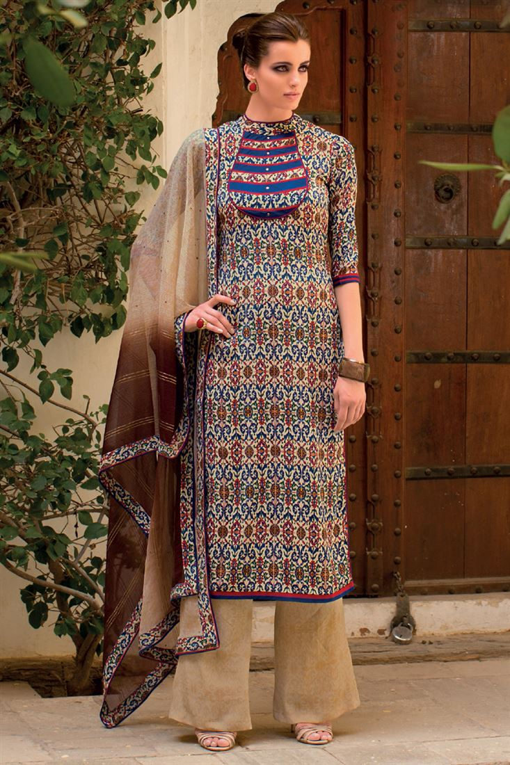 Digital Printed Crepe Semi-Stitch Pakistani Plazzo Salwar Suit