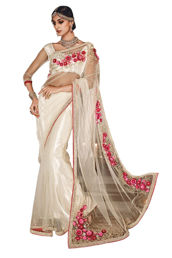 Cream Net Mirror-Moti Heavy Designer Hand Work Bridal Saree