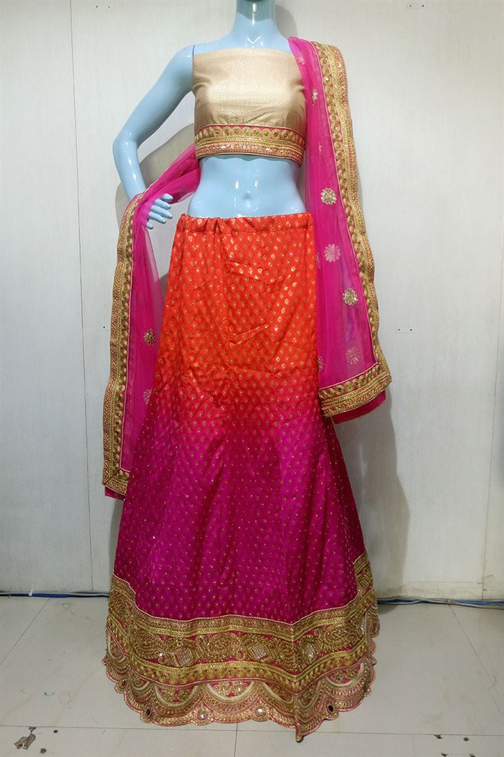 Red-Magenta Shaded Satin Heavy Border Work Wedding Lehenga