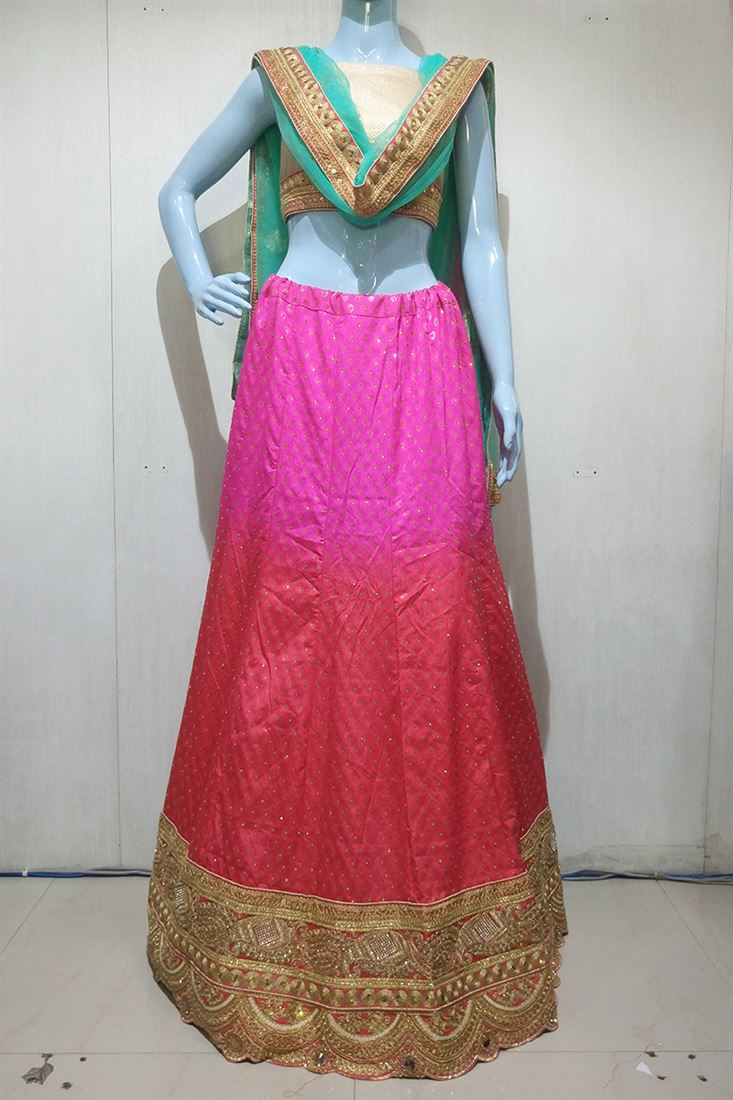 Pink-Peach Shaded Satin Heavy Border Work Wedding Lehenga