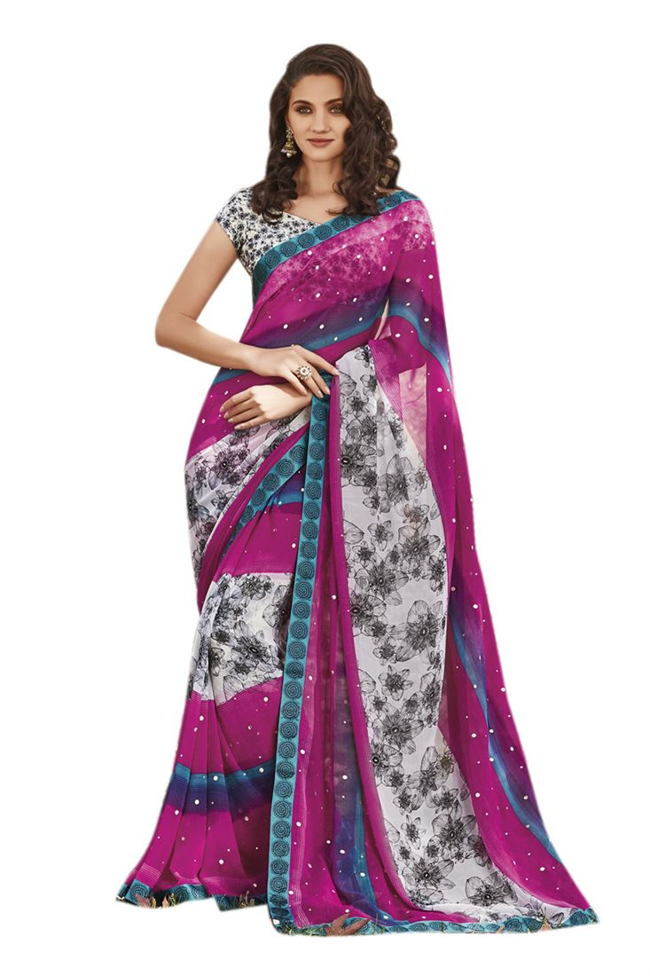 Magenta digital printed georgette foil with raw silk printed saree