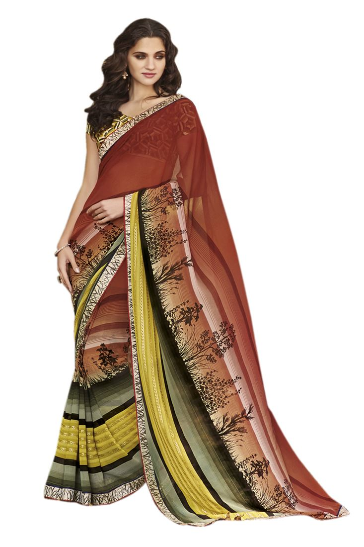 Maroon Multicolour Georgette Printed Saree with Fa