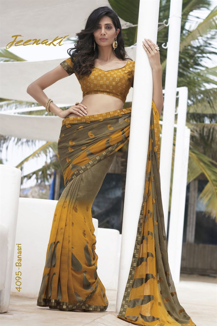 Yellow-Beige Chiffon with Thread Work Party Wear Saree With Jute Foil Blouse