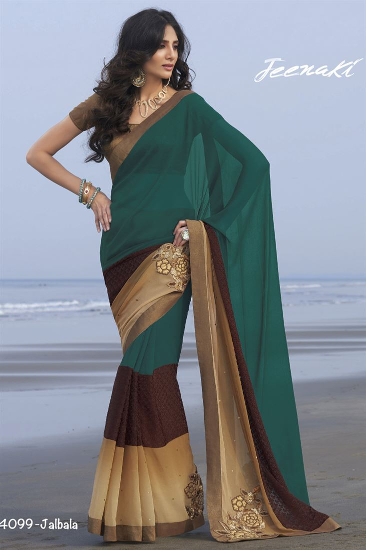 Rama-Brown Georgette Party Wear Saree With Brocade Blouse
