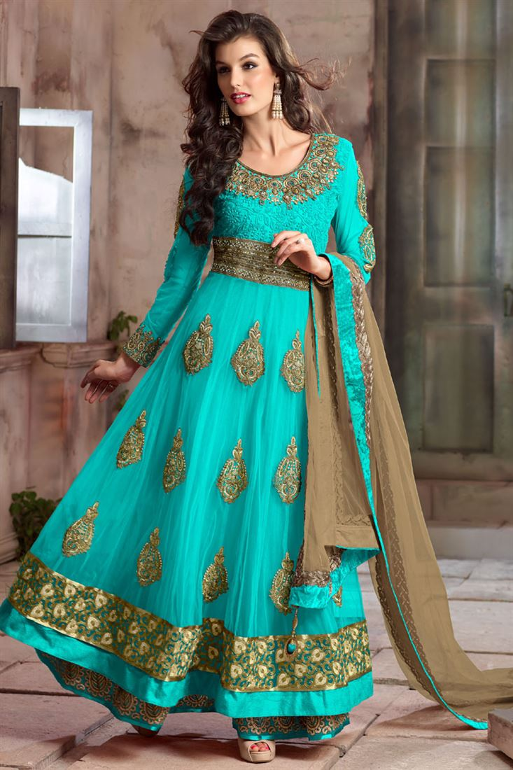 Sky Blue Net-Georgette Floor Length Anarkali Wedding Salwar Suit