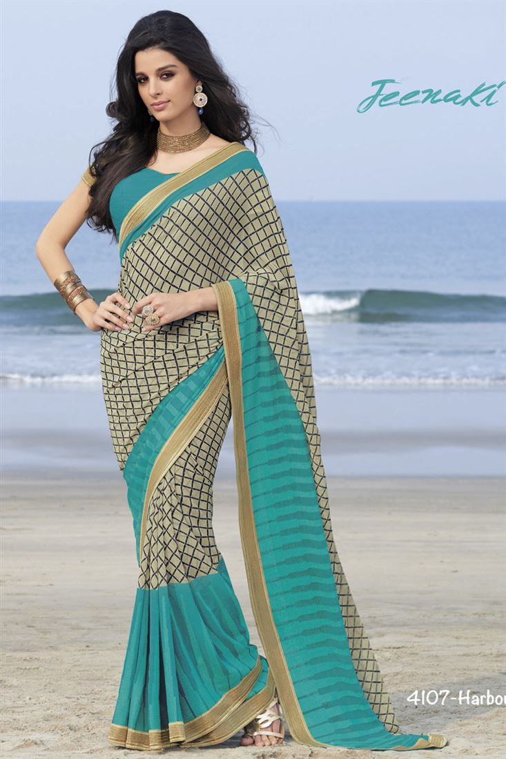 3eedb556cadc0 Sky Blue Georgette Beautiful Party Wear Saree With Crepe Silk Blouse