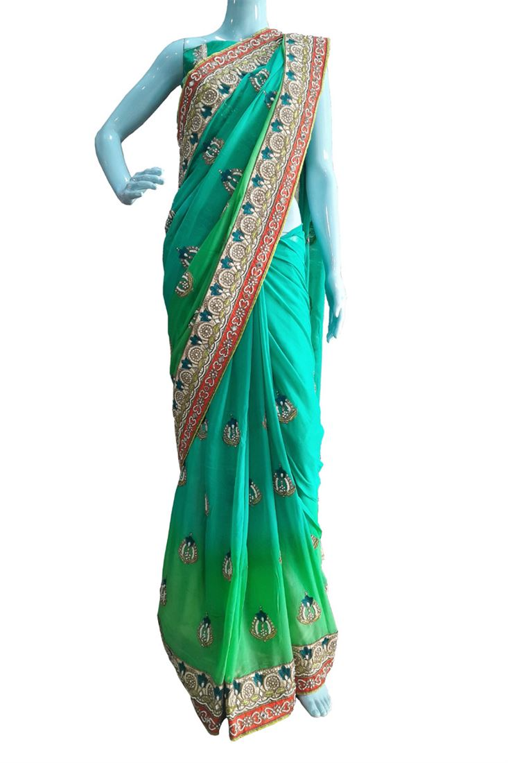Green Embroidery Pure Georgette Designer Choice Saree with Pure Dhupian Blouse