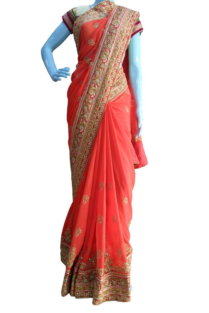 Red Embroidery Pure Georgette Designer Choice Saree with Blouse
