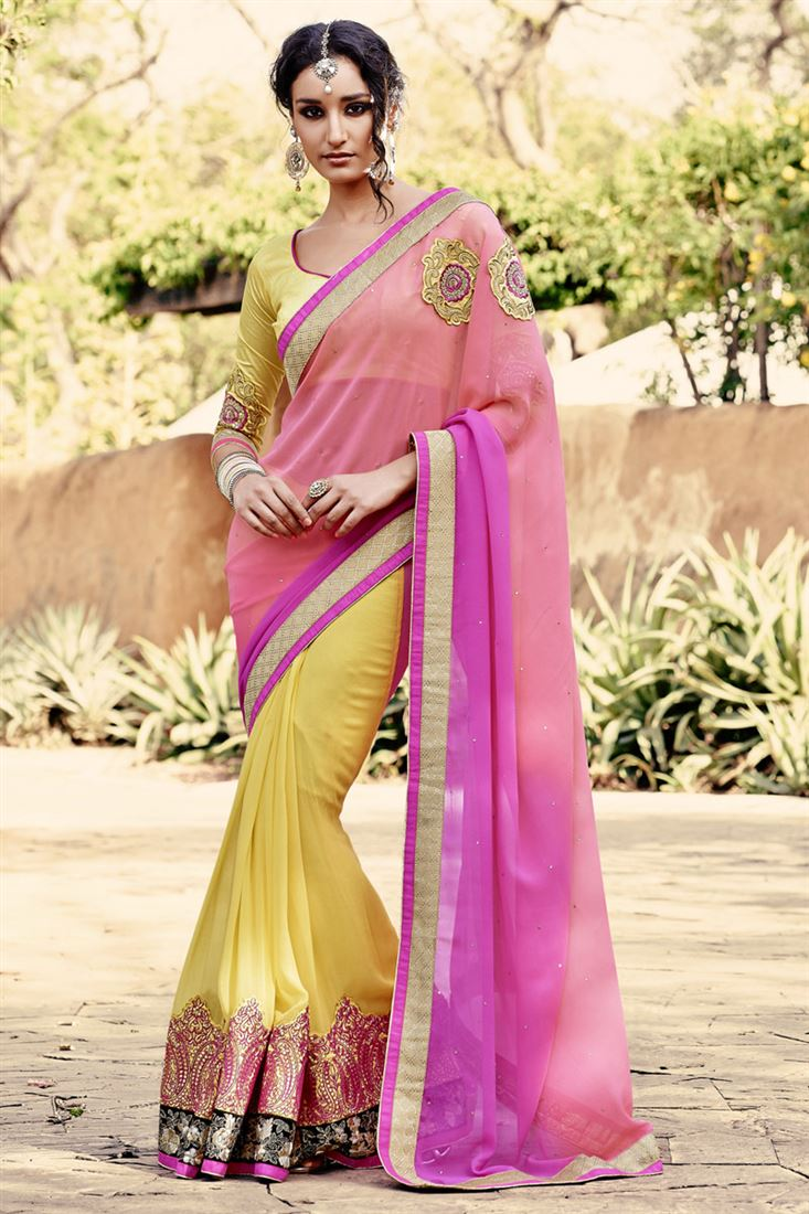 Yellow-Magenta Casual Georgette Festival Wear Half-Half Saree