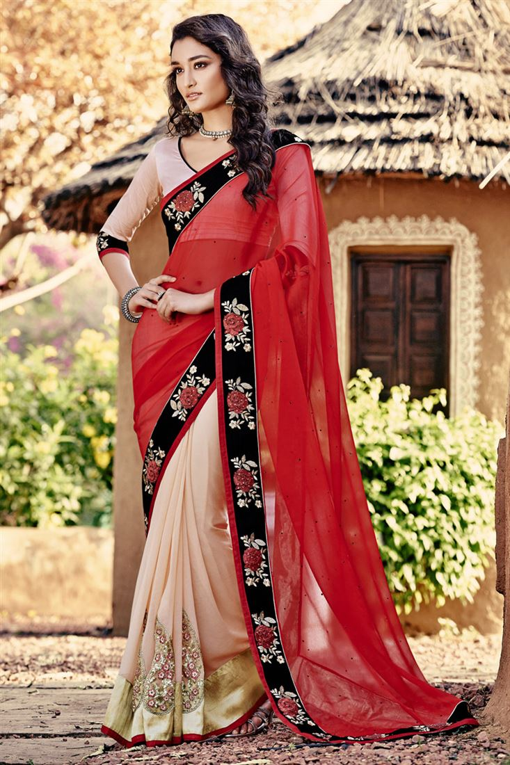 d3f724847e9 Red-Pink Chiffon Georgette Girlish Look Party Wear Half-Half Saree