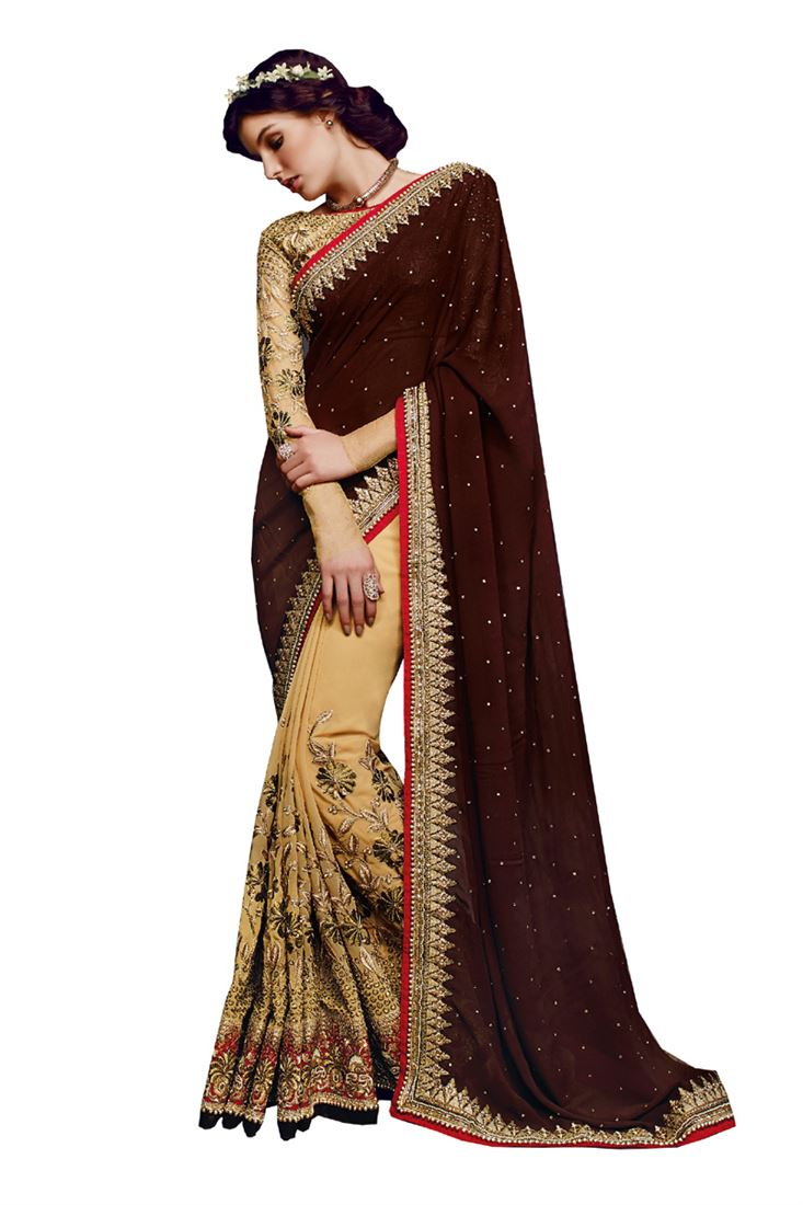 Brown Designer Georgette Bridal Saree with Blouse