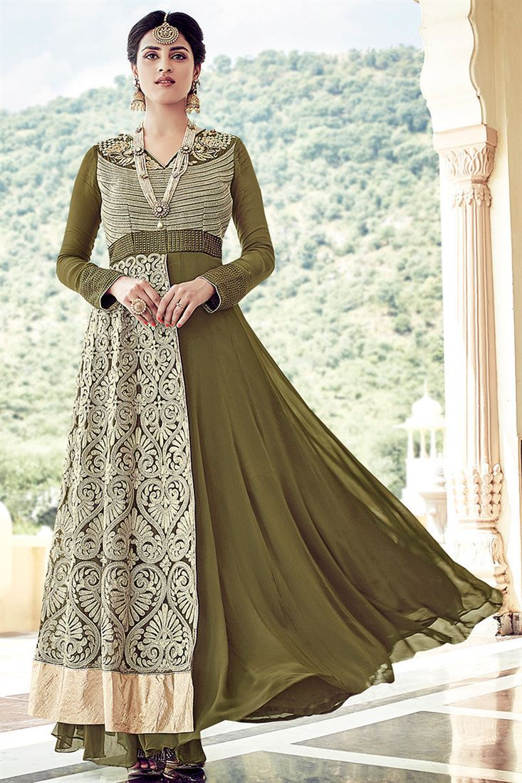 Hamim Georgette Fabric Mahendi Color Salwar Kameez