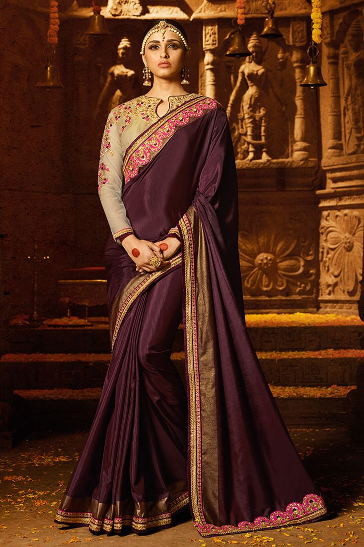Dark Purple Colour Sayona Silk Fabric Designer Party Wear Saree With Fancy Blouse