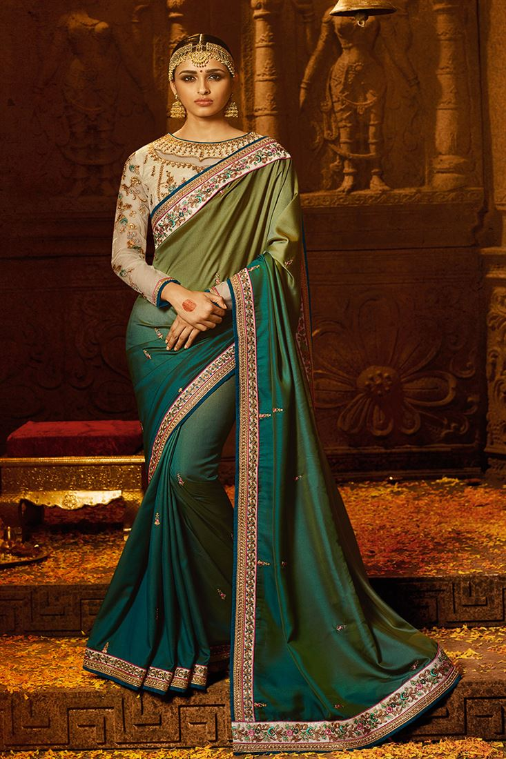 Olive Green Colour Barfi Silk Fabric Designer Party Wear Saree With Fancy Blouse