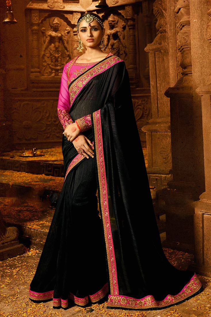 Black Colour Magic Silk Fabric Designer Party Wear Saree With Fancy Blouse