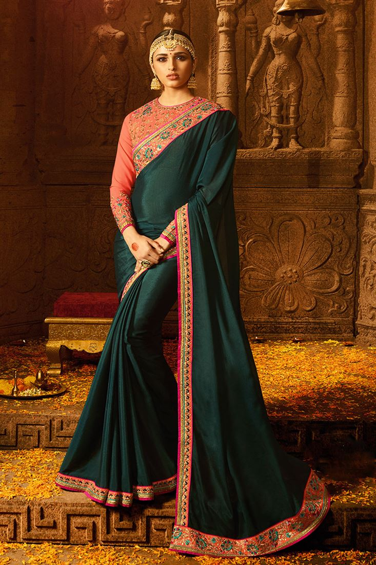 Deep Rama  Colour Chinon Fabric Designer Party Wear Saree With Fancy Blouse