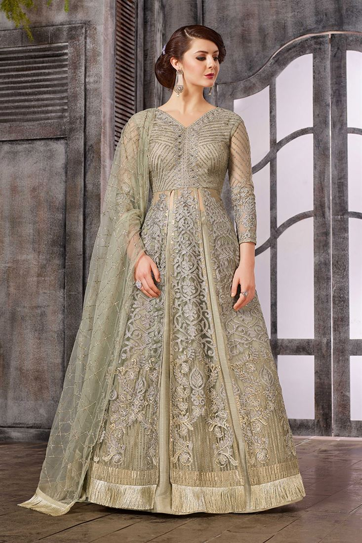 Celebrations Grey Colour Net Fabric Designer Embroidered Indo-Western Style Suit