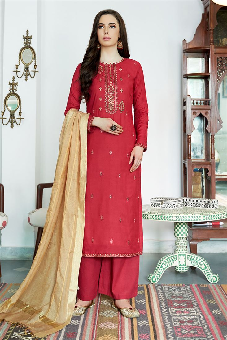 Amazing Rani Colour Viscos Muslin Salwar Suit With Embroidery Work