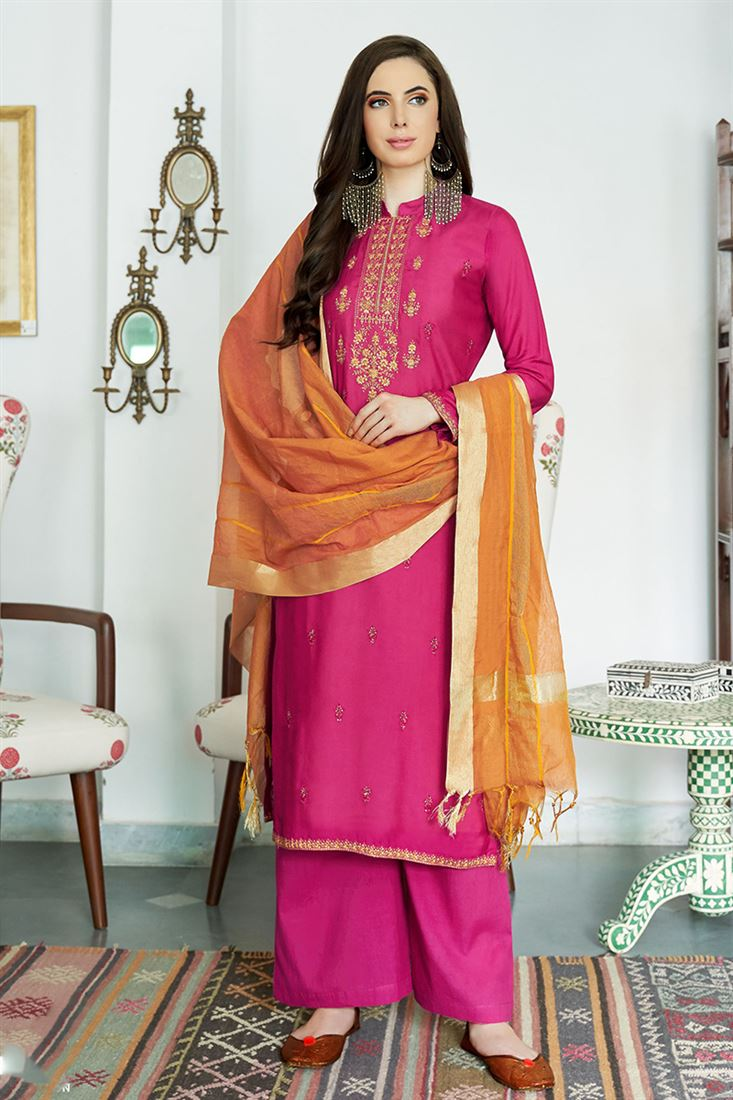 Classic Magenta Colour Viscos Muslin Salwar Suit With Embroidery Work