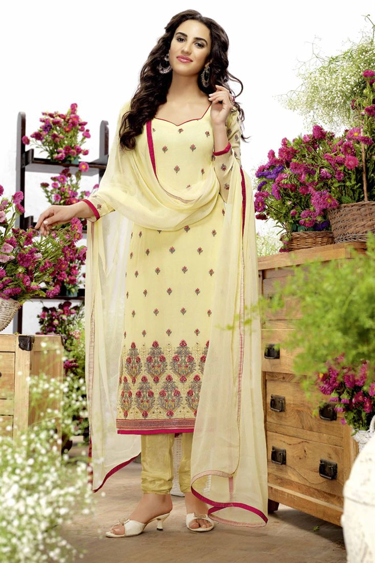 Yellow Georgette Traditional Churidar Salwar Suit
