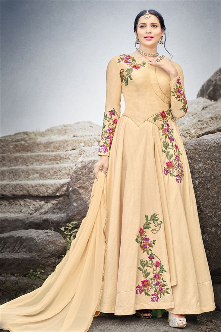 Mehzabeen Peach Color Silk Gown