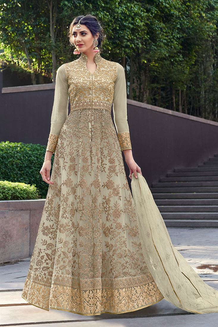 Regal Cream Embroidered Festive Wear Net Anarkali Suit With Net Dupatta