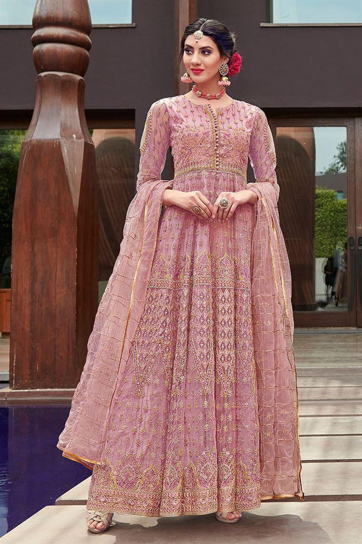 Regal Rose Pink Embroidered Festive Wear Net Anarkali Suit With Net Dupatta