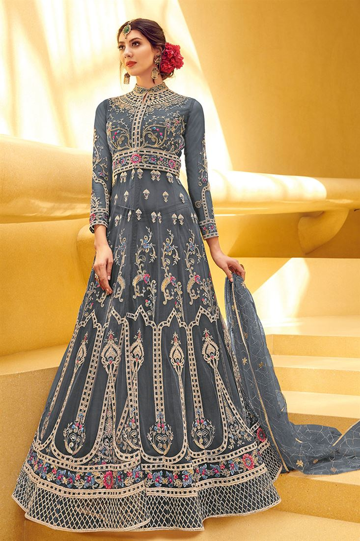 Regal Pinkish Grey Embroidered Festive Wear Net Anarkali Suit With Net Dupatta
