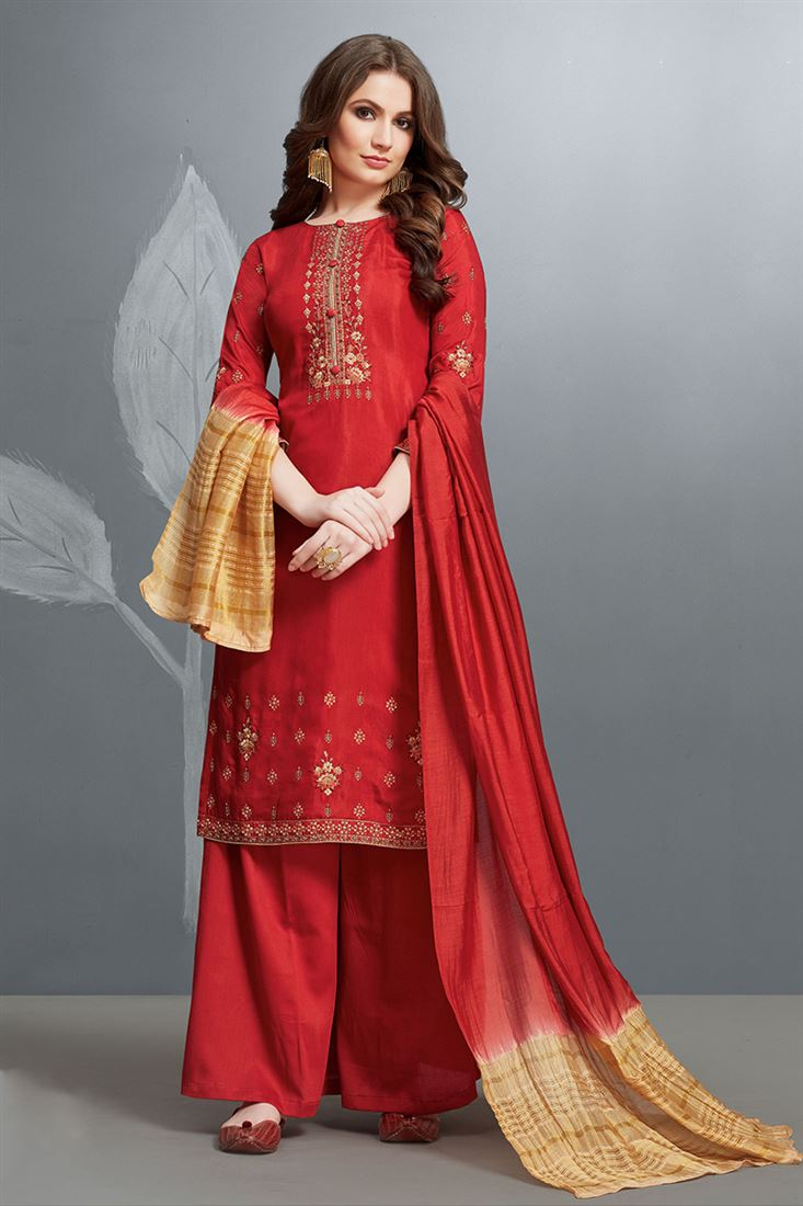 Fabulous Red Colour Cotton Silk Salwar Suit With Embroidery Work