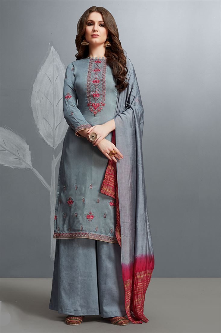 Beautiful Grey Colour Cotton Silk Salwar Suit With Embroidery Work