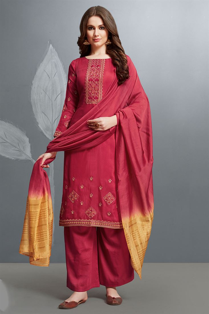 Attractive Rani Colour Cotton Silk Salwar Suit With Embroidery Work