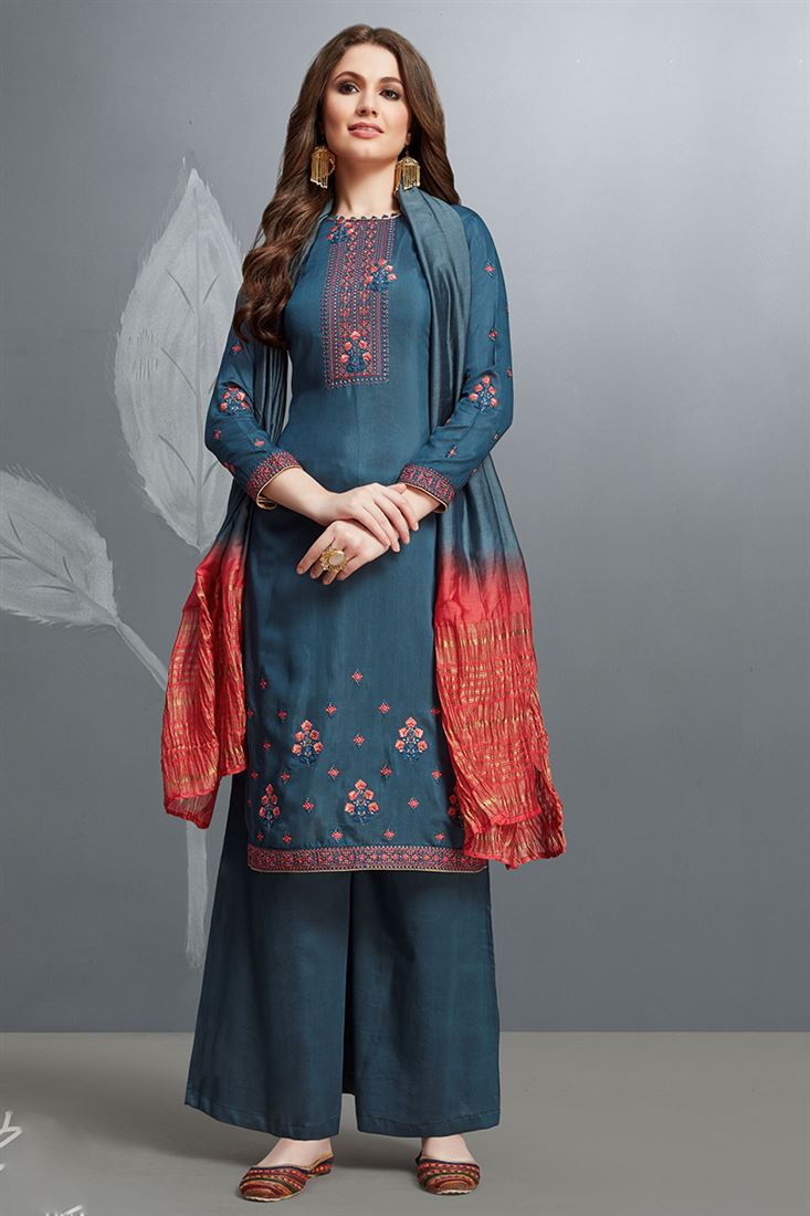 Exquisite Deep Rama Colour Cotton Silk Salwar Suit With Embroidery Work