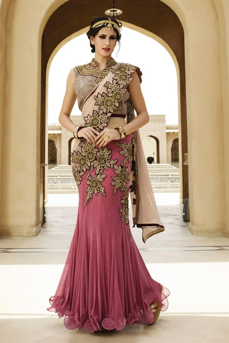 fecd5a0856 Light Maroon-Cream Color Simmer Net Fabric in Heavy Traditional ...